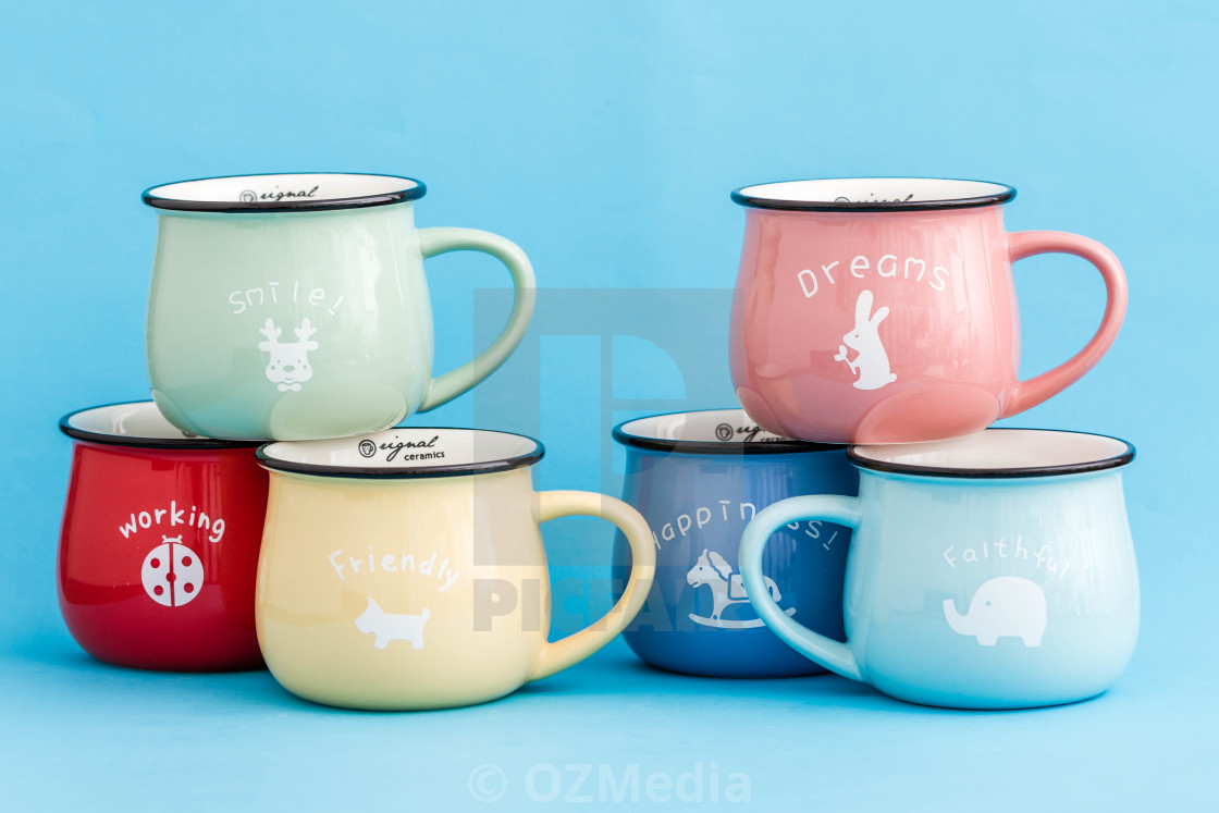 Creative Cute Coffee Mugs On Blue Background License Download Or Print For 12 40 Photos Picfair