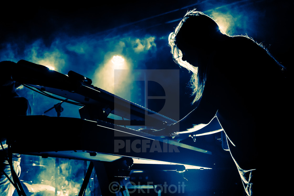 """Girl playing keyboards during concert, silhouette"" stock image"