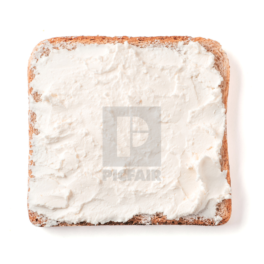 """""""Bread slice with soft cheese isolated on white"""" stock image"""