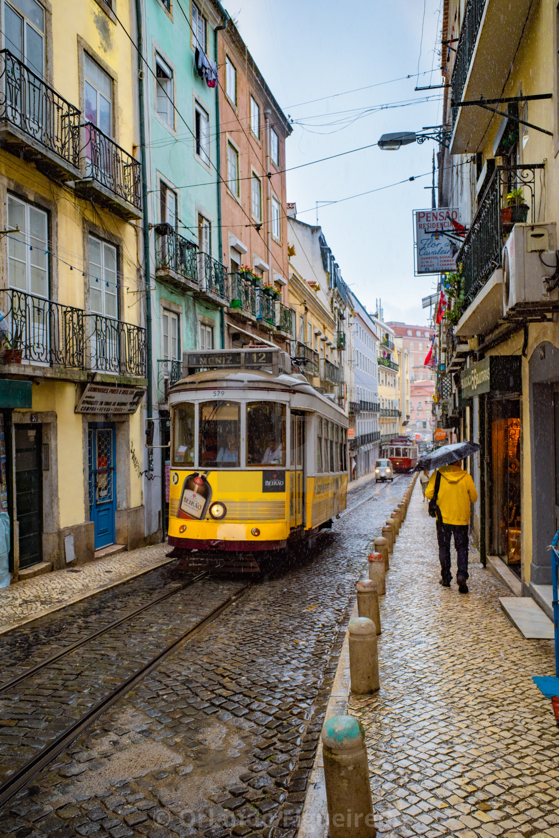 """Yellow tram on the streets of Lisbon"" stock image"