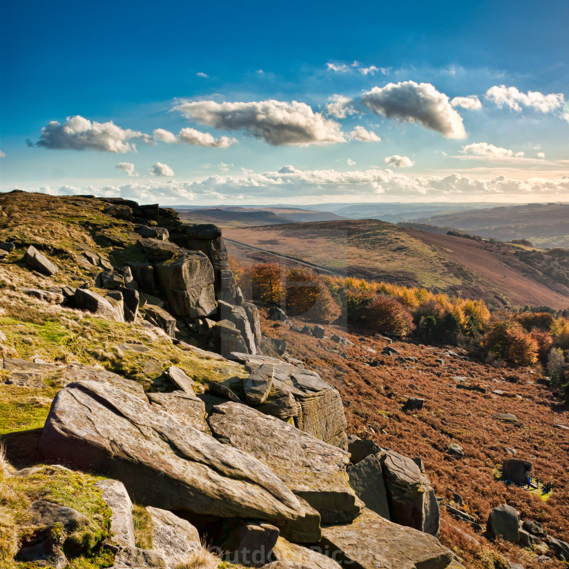 """""""Stanage Edge and the three clouds"""" stock image"""