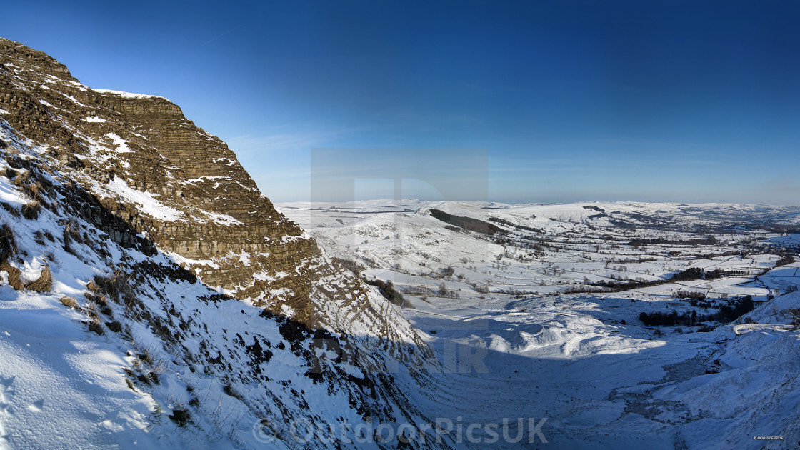 """""""Mam Tor East Face in Snow"""" stock image"""