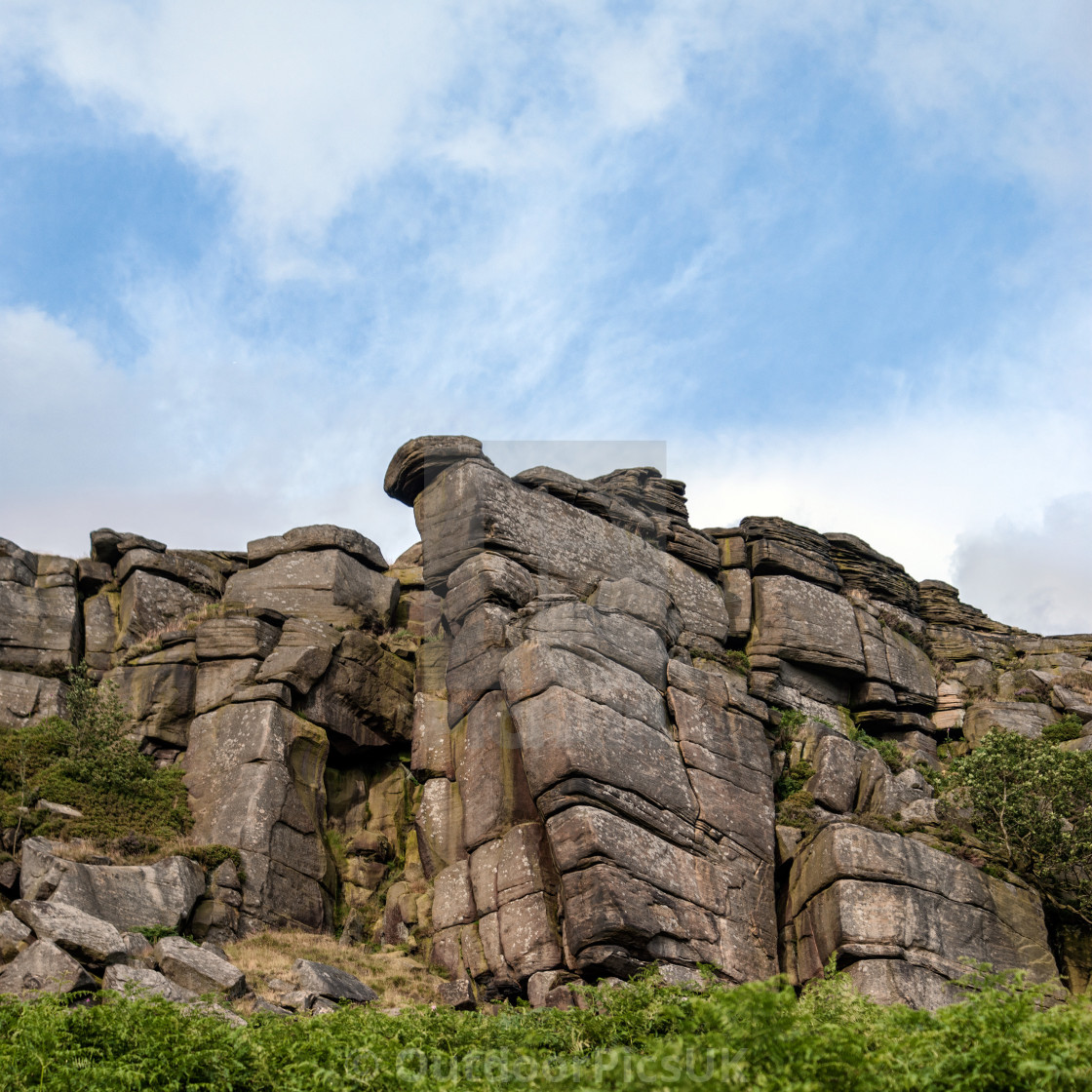 """Stanage Edge Crag, Peak District"" stock image"