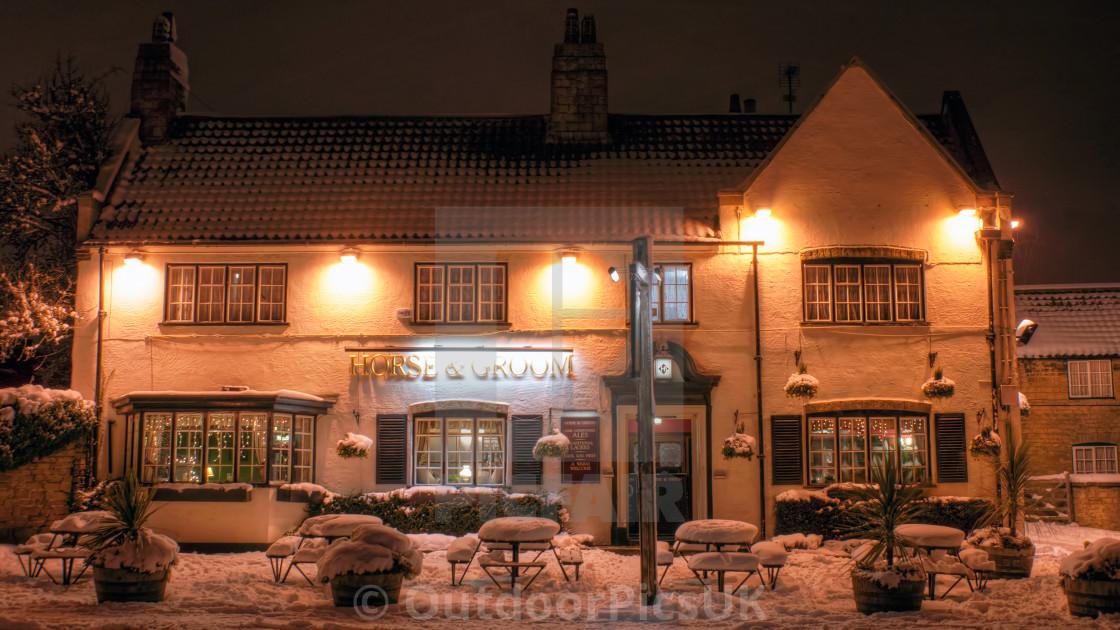 """Snowy Festive Christmas Pub"" stock image"