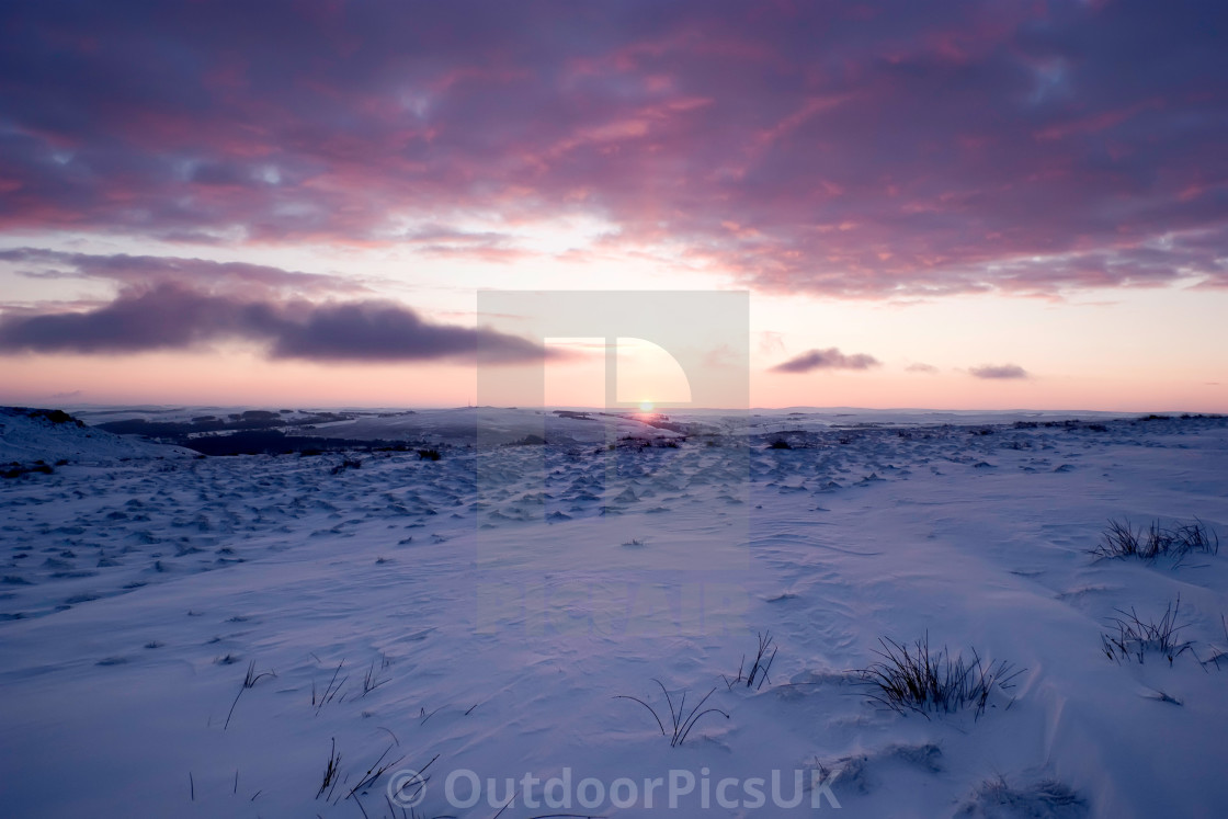 """Sunset and Snow, Peak District."" stock image"