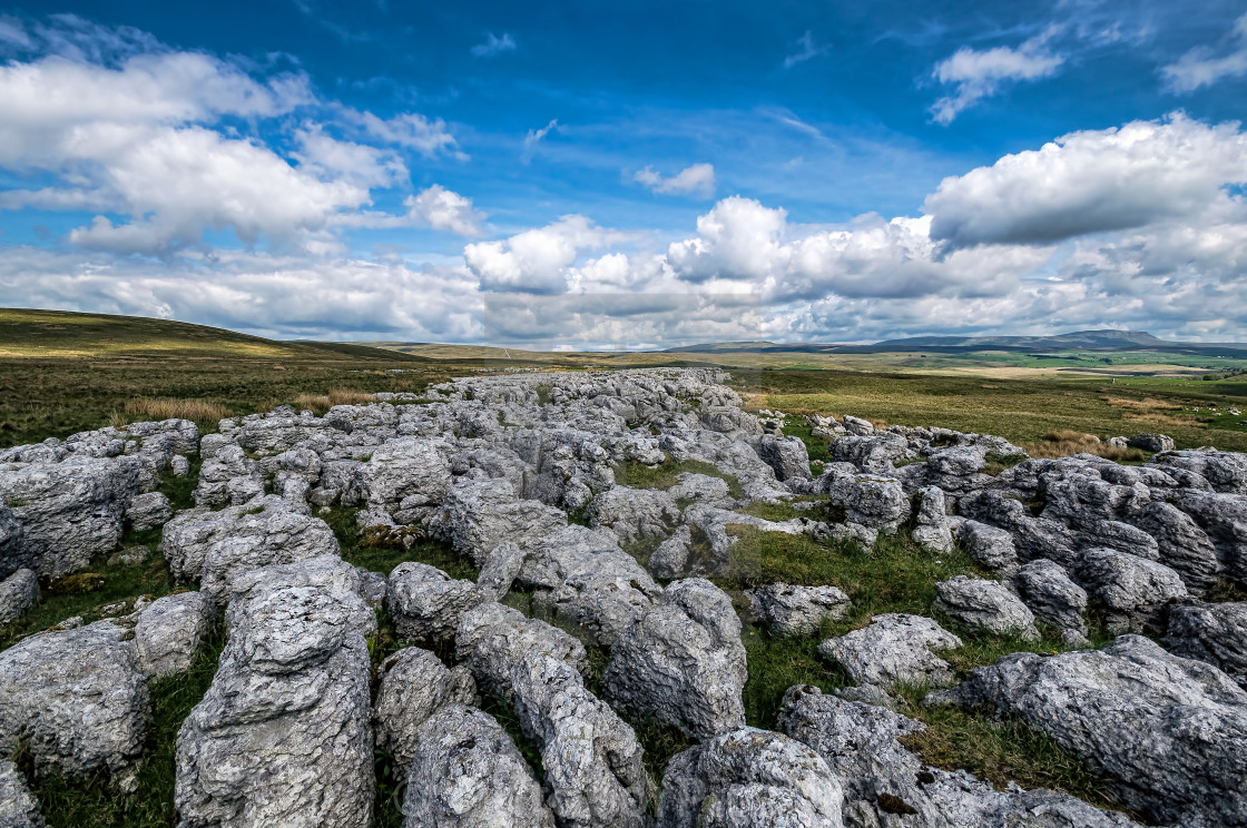 """A view from Great Scar, Ribble head, Yorkshire Dales"" stock image"