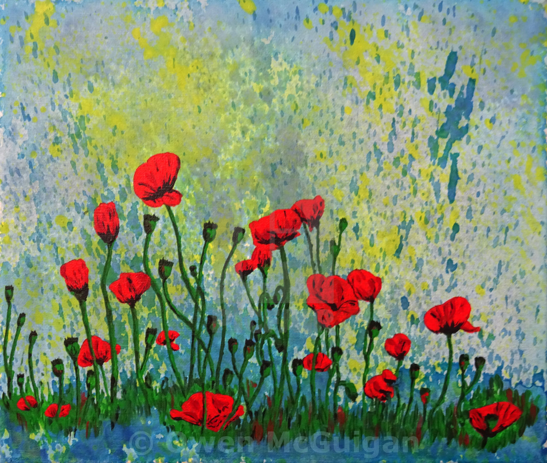 Acrylic Painting Of Poppies 0725 License For 744 On Picfair