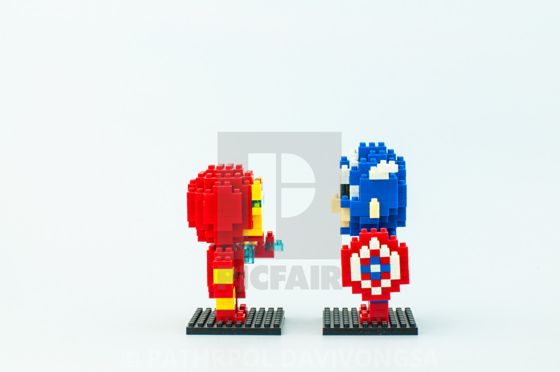 """IRONMAN and CAPTAIN AMERICA Micro Blocks"" stock image"