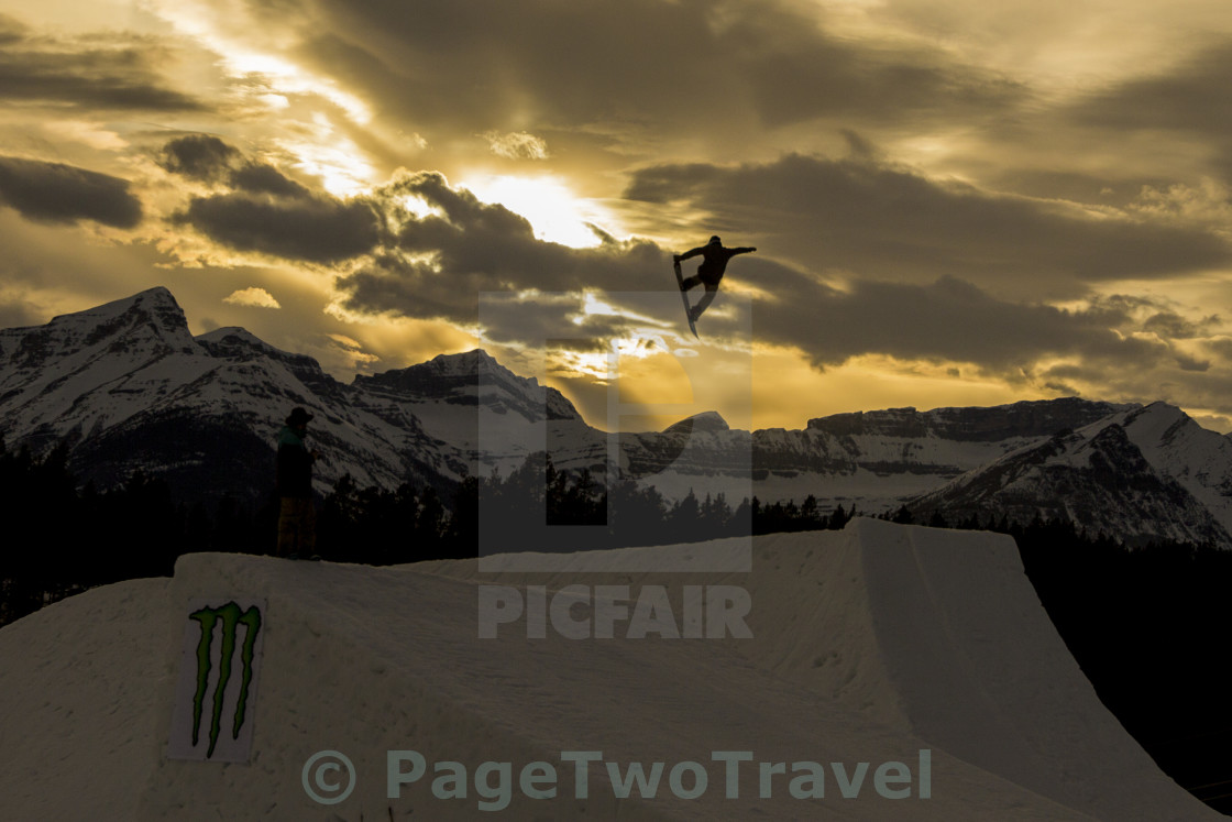 """Sunset snowboard"" stock image"