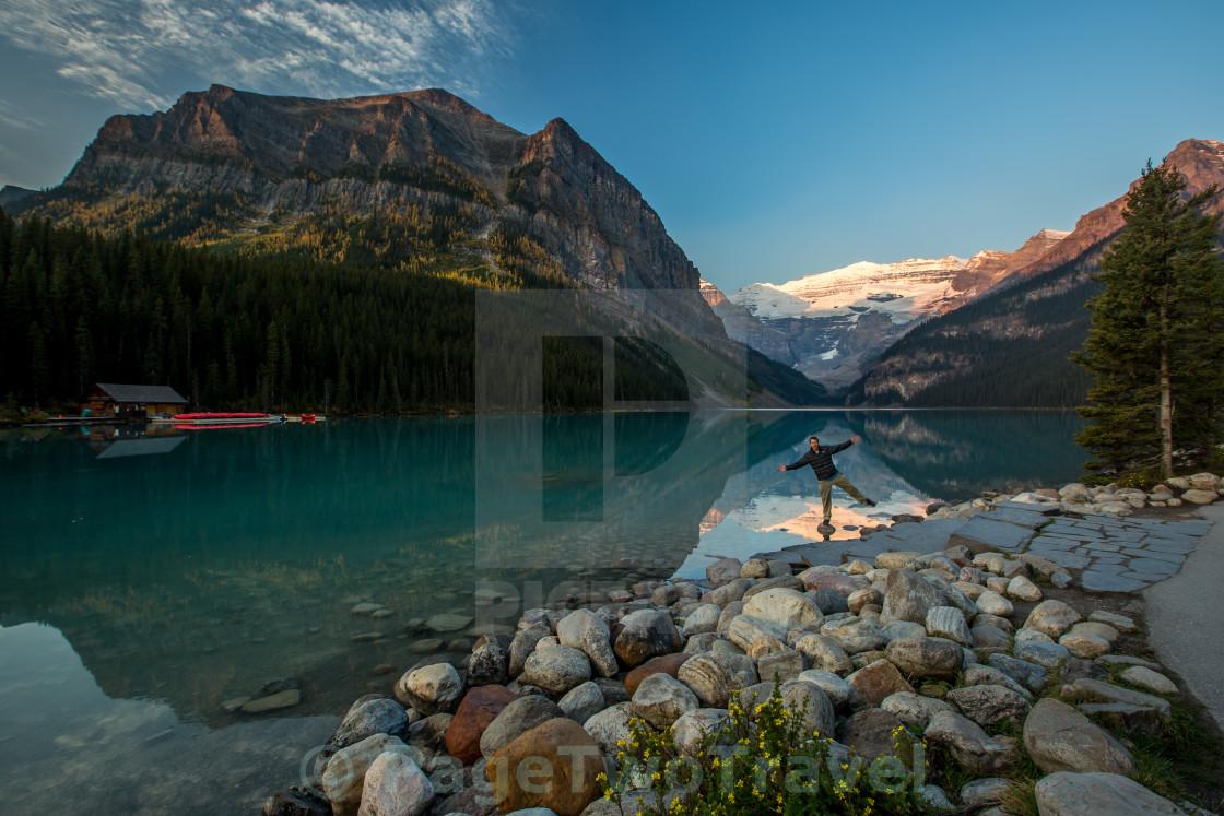 """""""Lake Louise Fun"""" stock image"""
