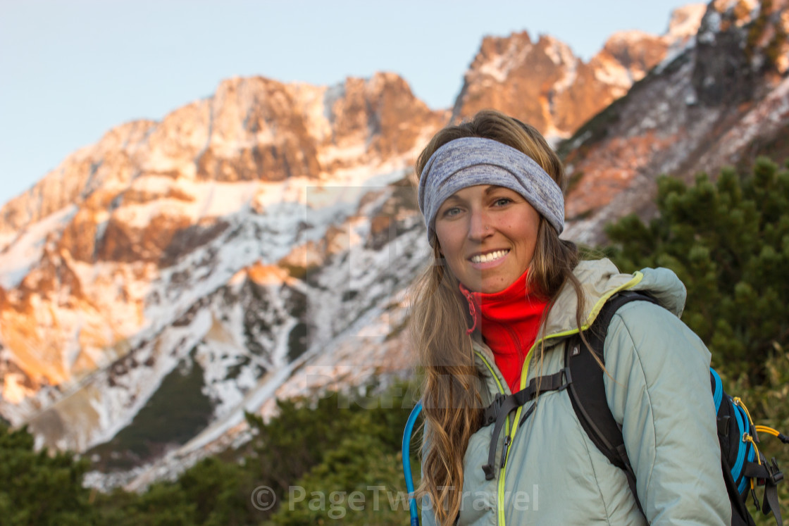 """""""Girl in mountains"""" stock image"""