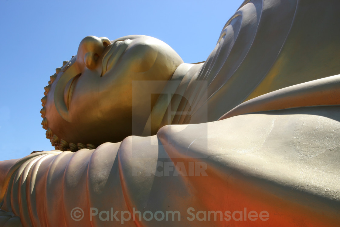 """Close up portrait of reclining golden buddha"" stock image"