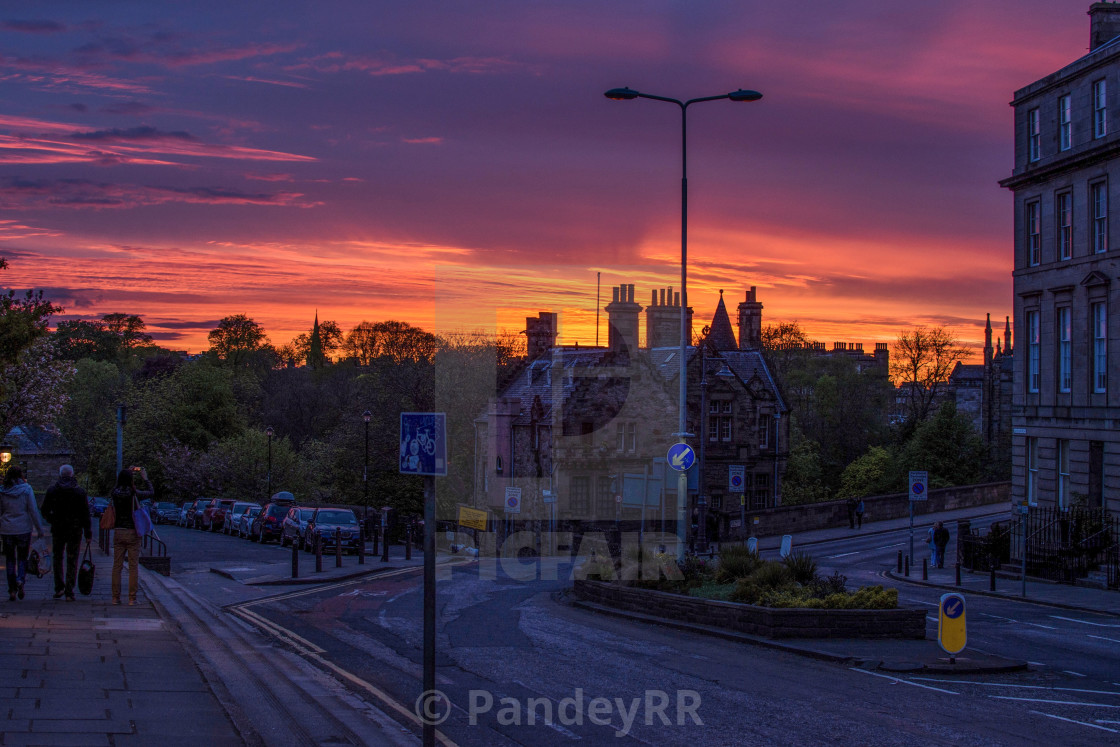 Sunset over Dean Bridge in Edinburgh