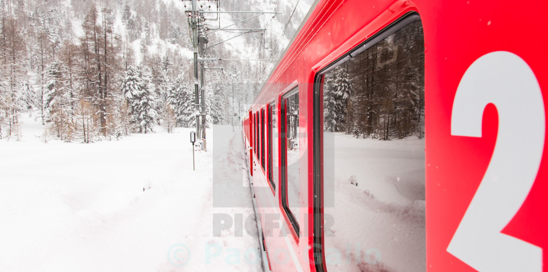 """Train in the snow"" stock image"