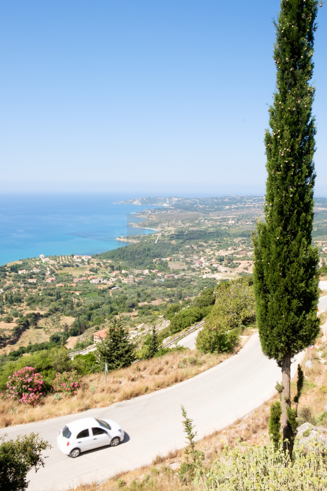 """""""Driving on a winding road in Vlachata, Kefalonia."""" stock image"""