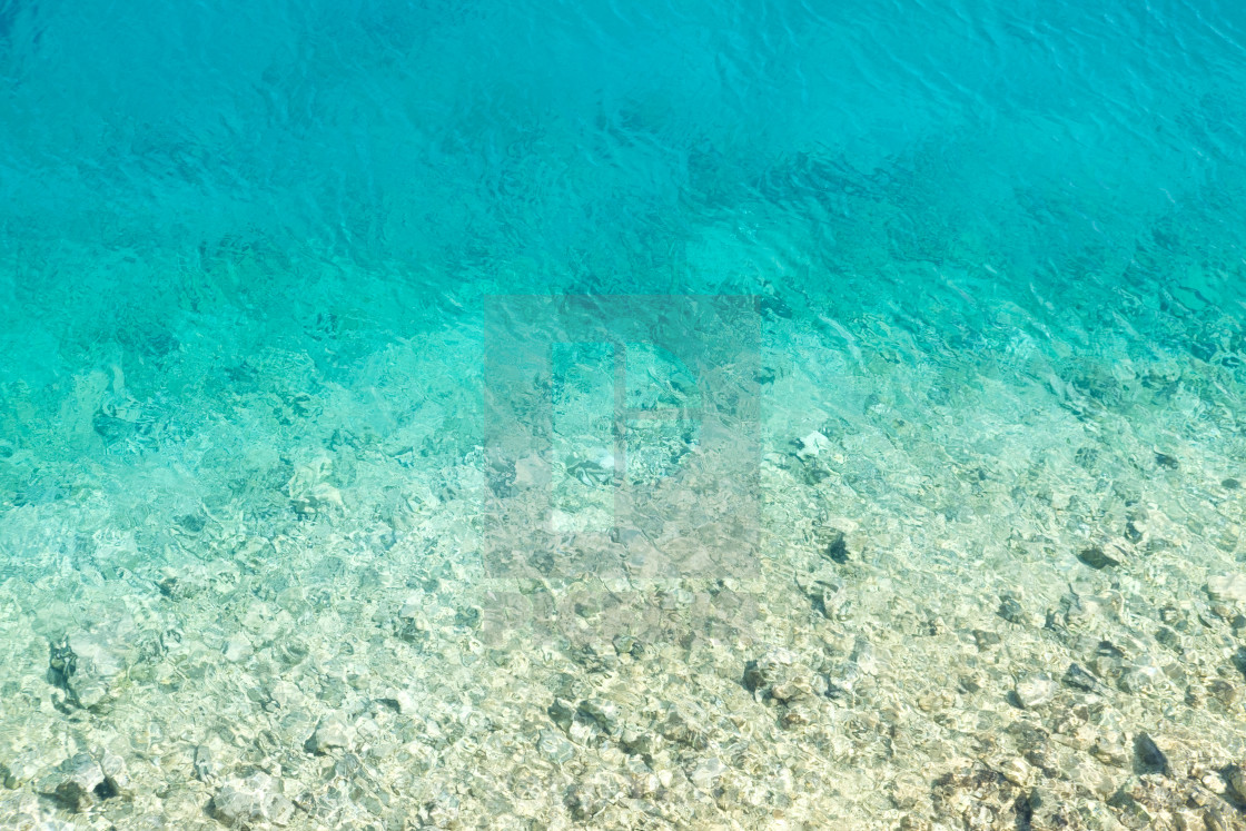 """""""An aerial view of the Ionian Sea seen at Foki Beach in Kefalonia, Greece."""" stock image"""