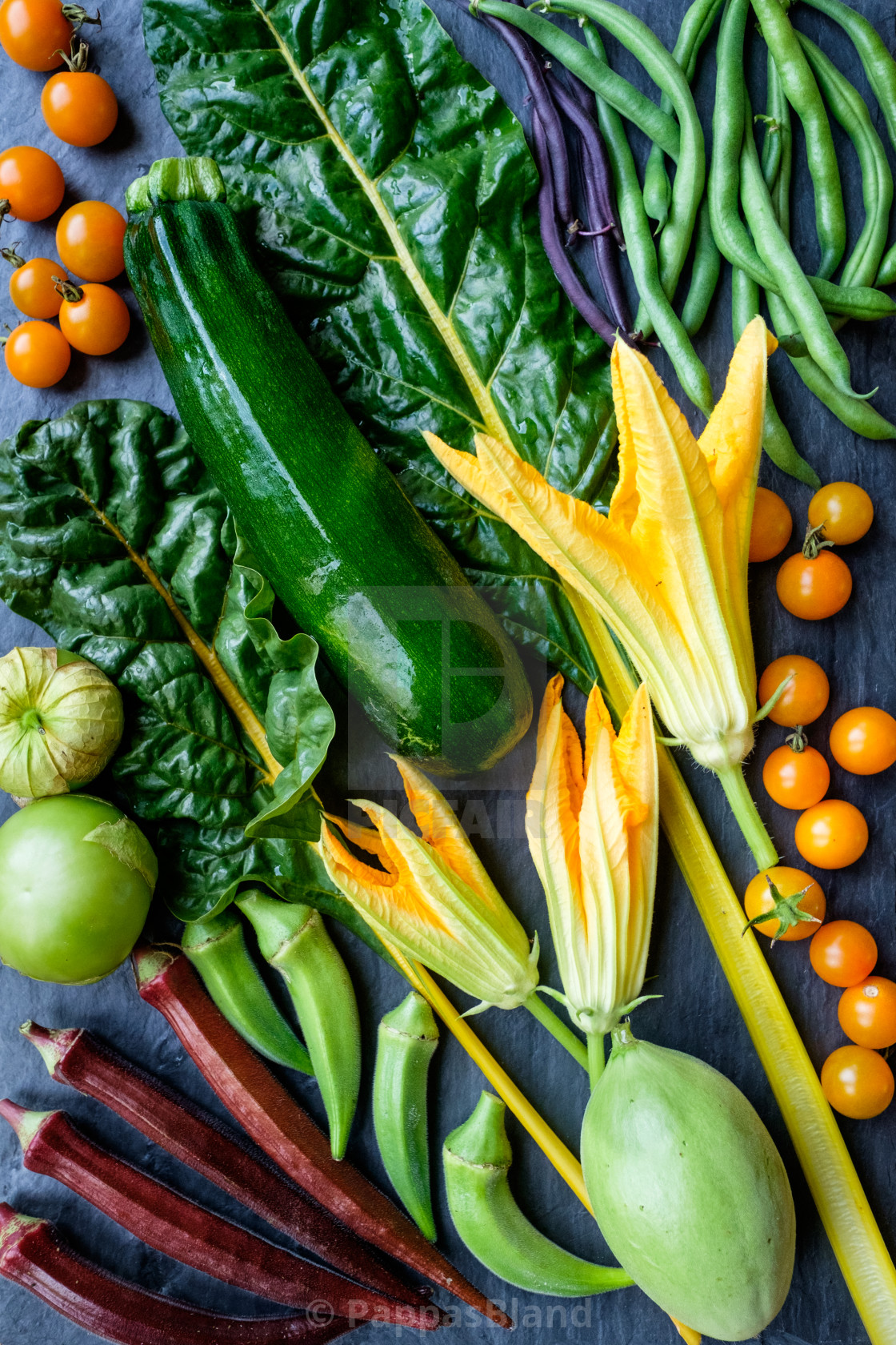 """""""A still life of freshly harvested produce from a home vegetable garden."""" stock image"""