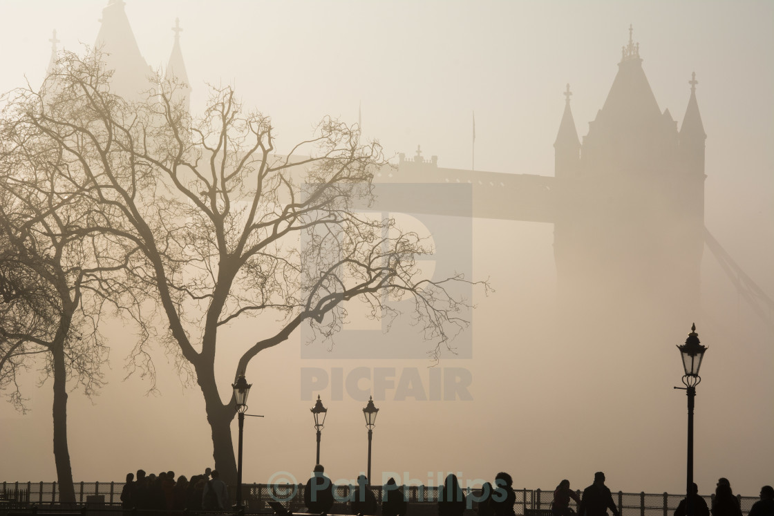 """A foggy day in London Town - Tower Bridge"" stock image"