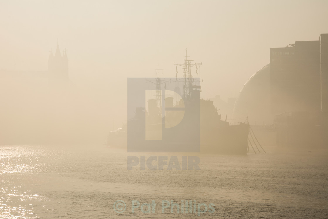 """HMS Belfast in the fog"" stock image"