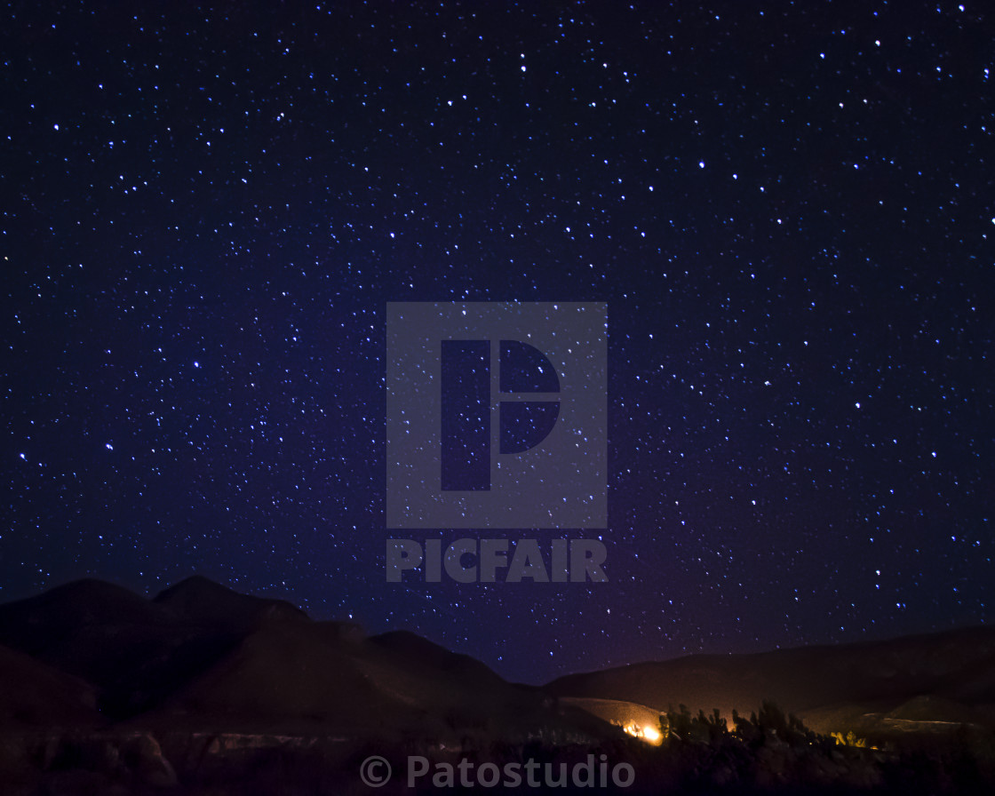 """starry sky in the village"" stock image"