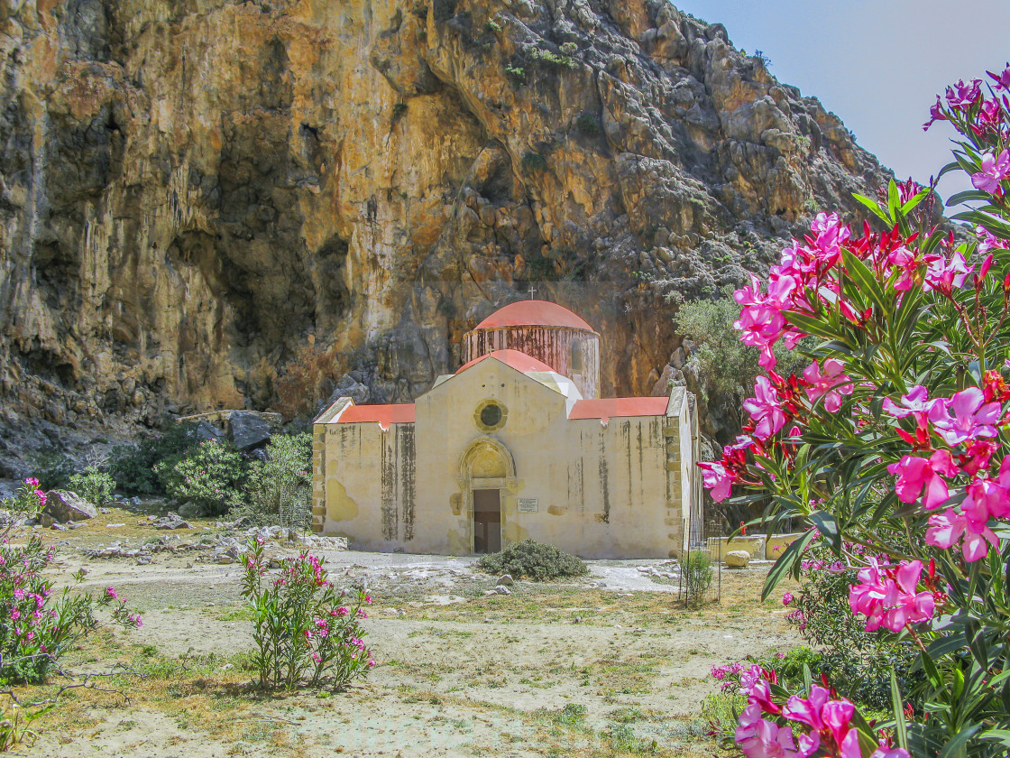 """""""Old Byzantine church in gorge in southern crete"""" stock image"""