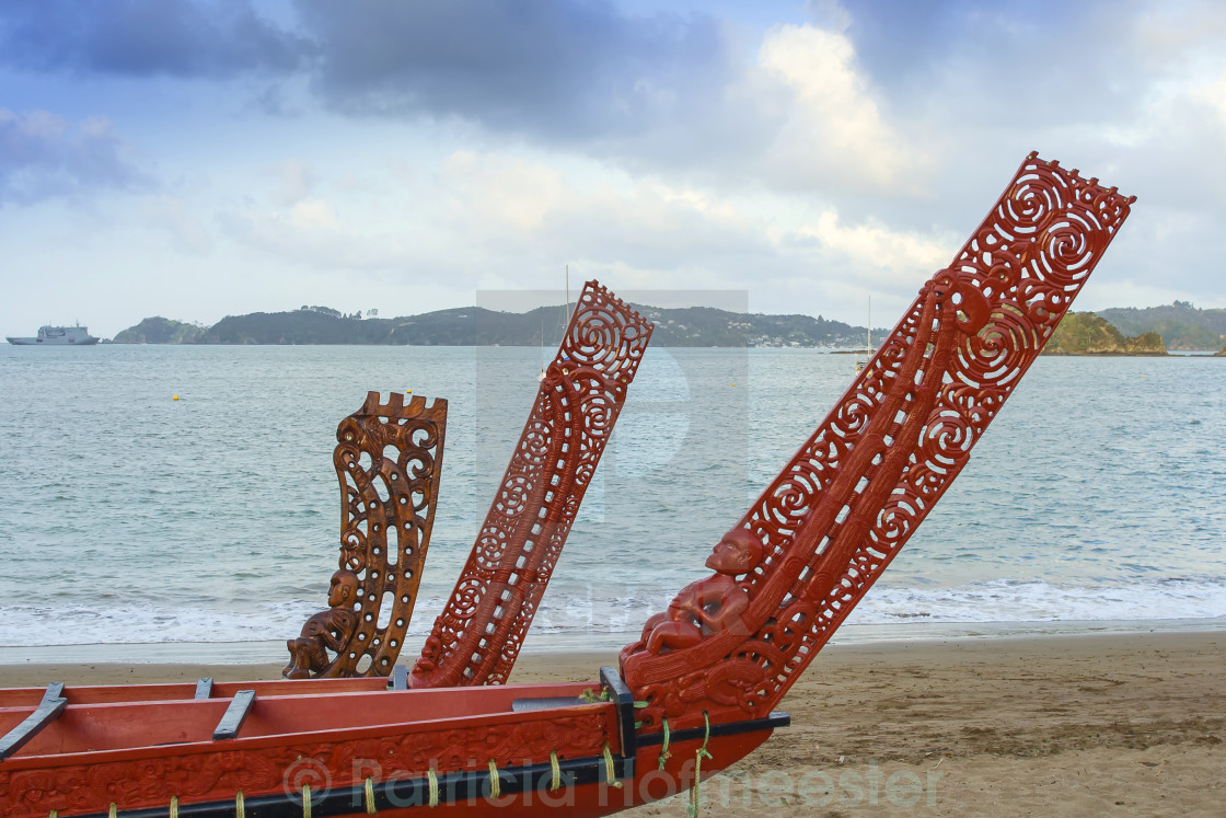 """""""Three beautifully wooden carved Maori boats"""" stock image"""