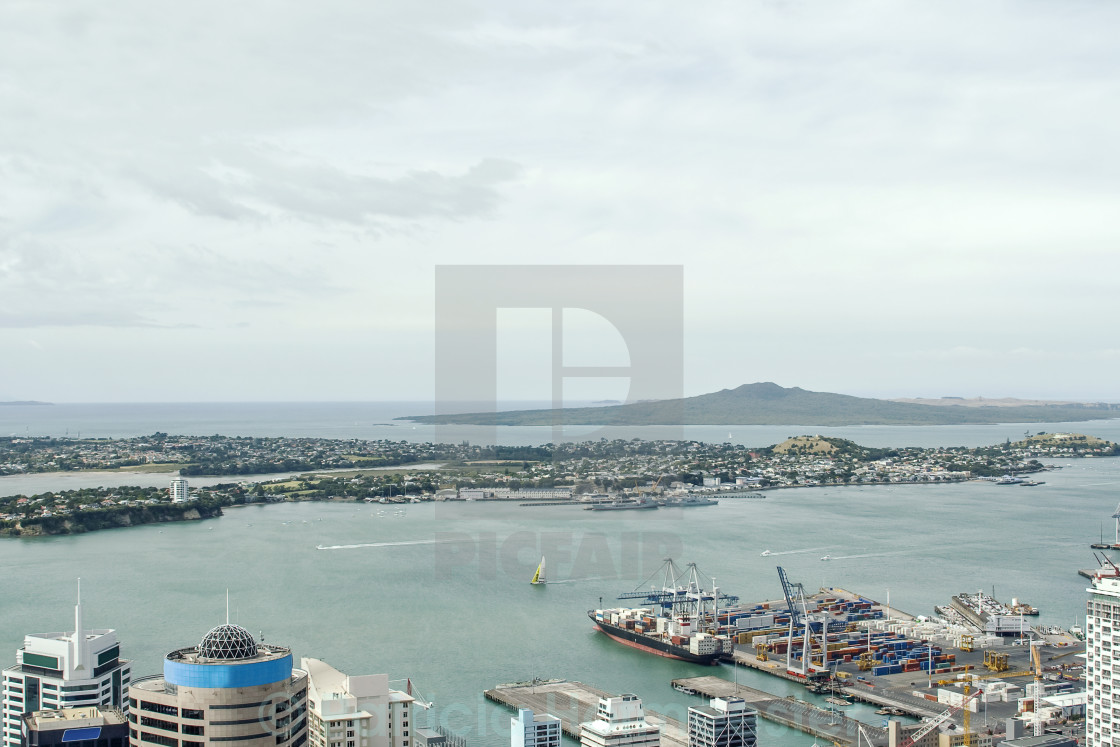 """""""View on Auckland harbor"""" stock image"""