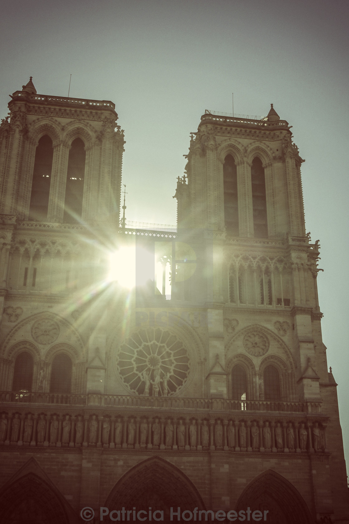"""""""Sunlight shining through towers of Notre Dame"""" stock image"""