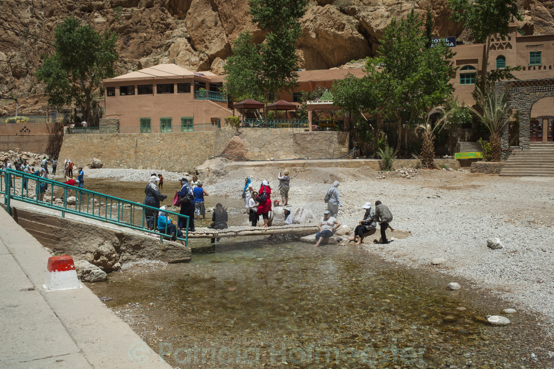"""Refreshing in Todra Gorge"" stock image"