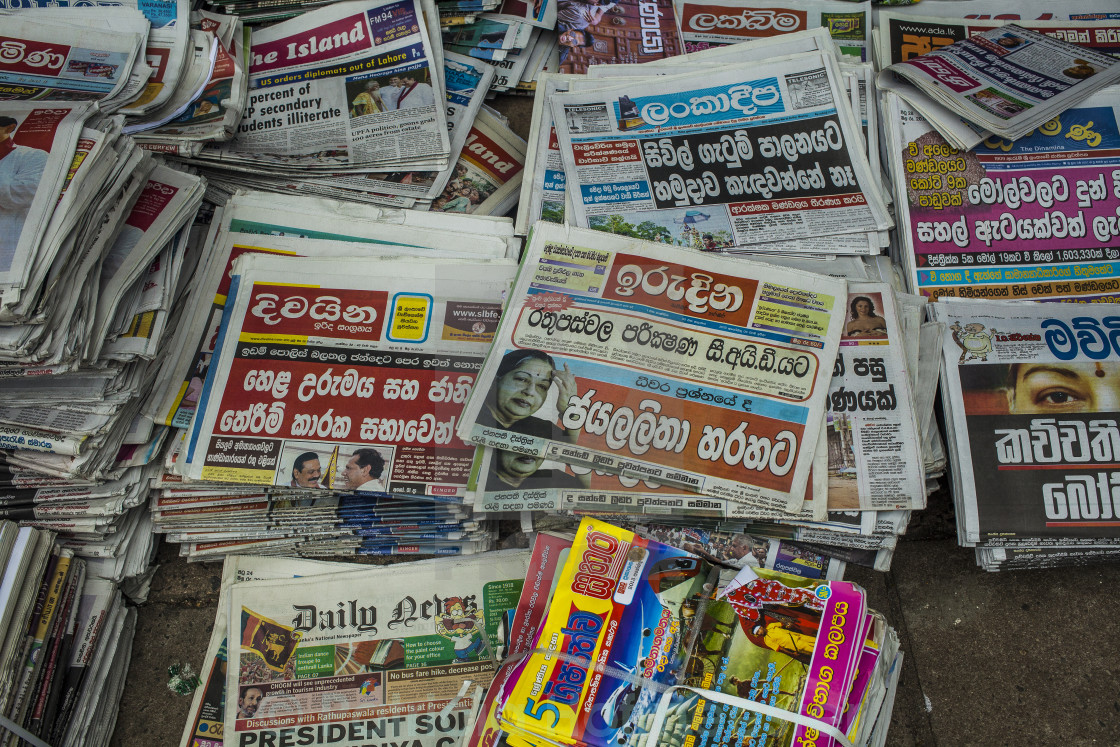 """""""Newspaper stand in Kandy"""" stock image"""