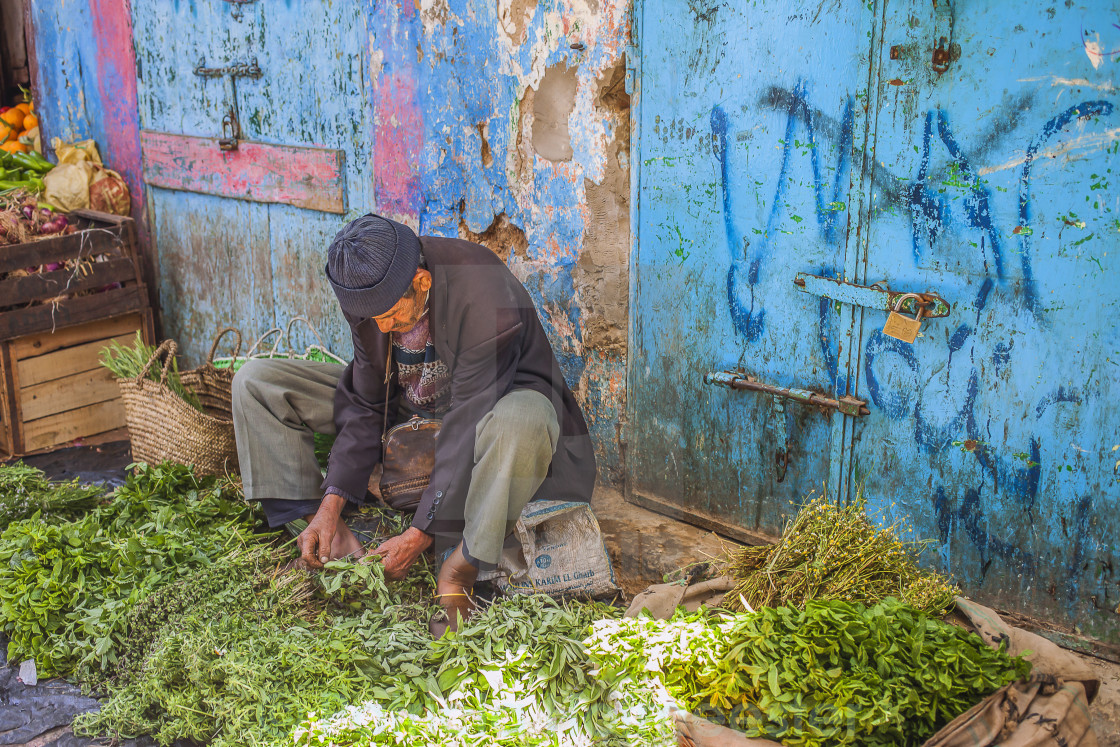 """Selling herbs in the souk"" stock image"