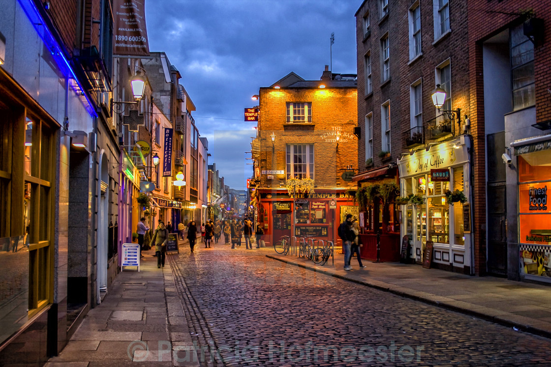 """Temple Bar district in Dublin at night"" stock image"