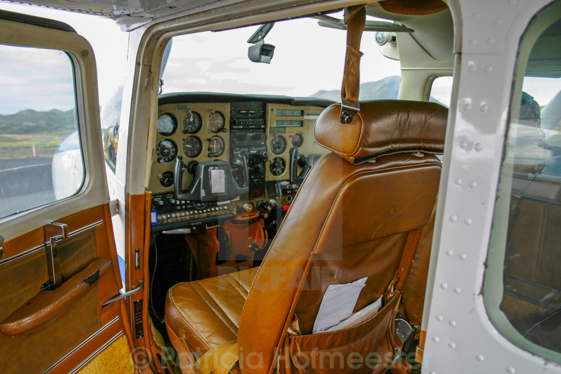 """inside a small plane"" stock image"