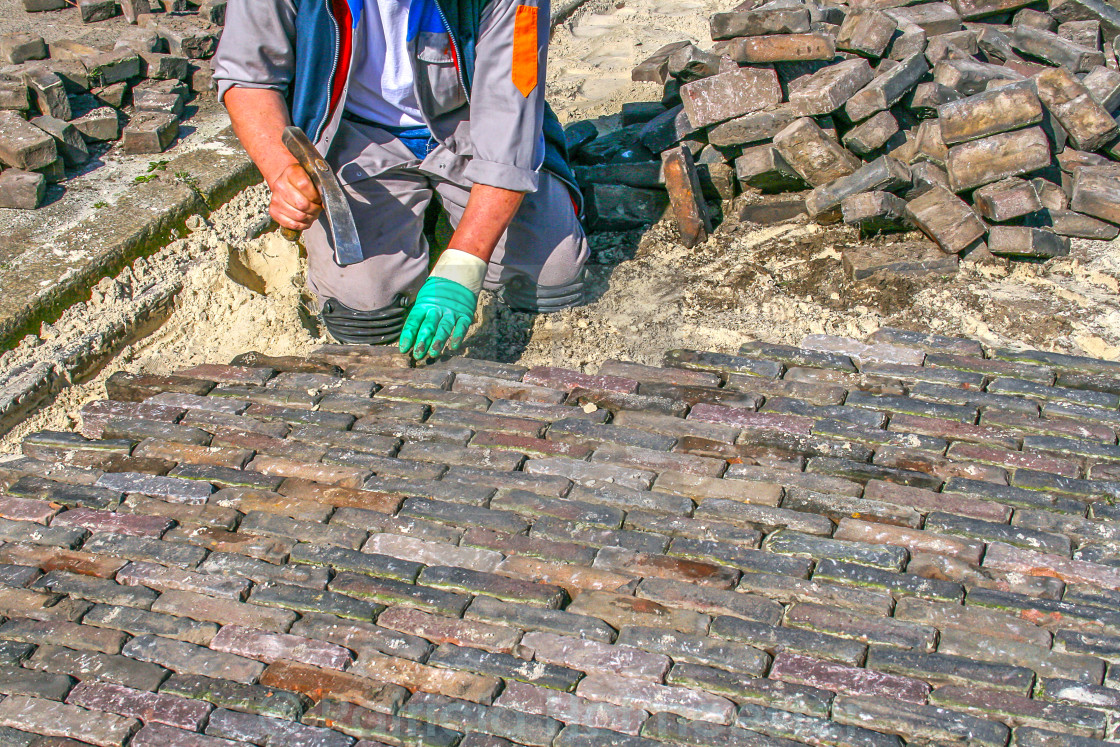 """Bricklayer at work"" stock image"