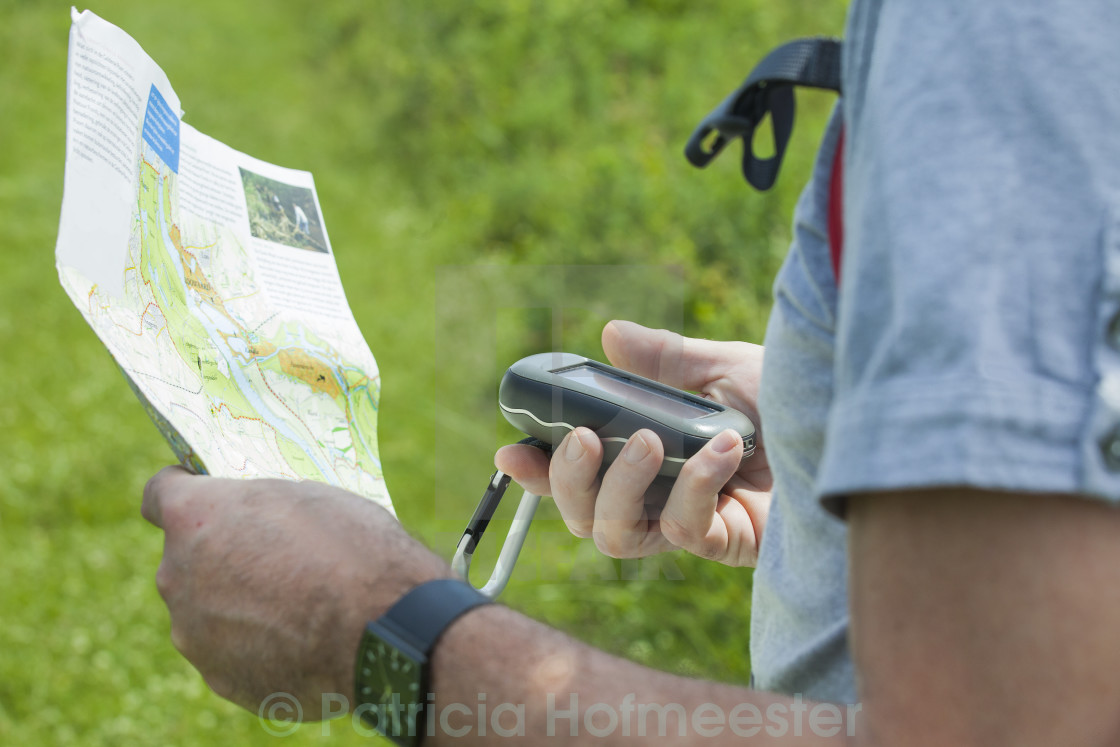 """Man with gps and plan"" stock image"