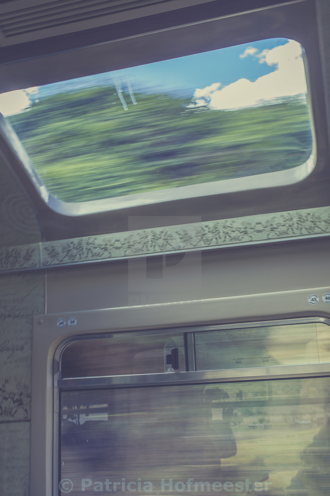 """""""Inside a moving train"""" stock image"""