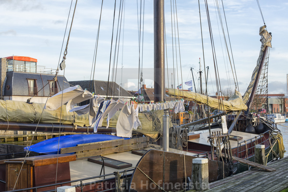 """Drying laundry on a ship"" stock image"