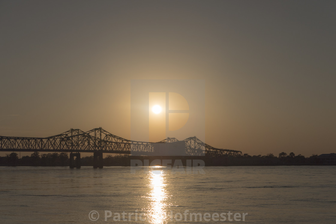 """Bridge Natchez at sunset"" stock image"