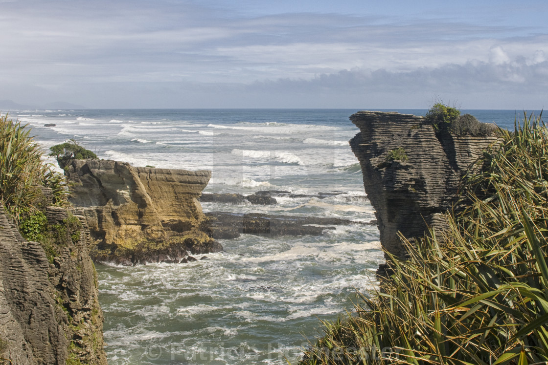 """Pancake rocks in New Zealand"" stock image"