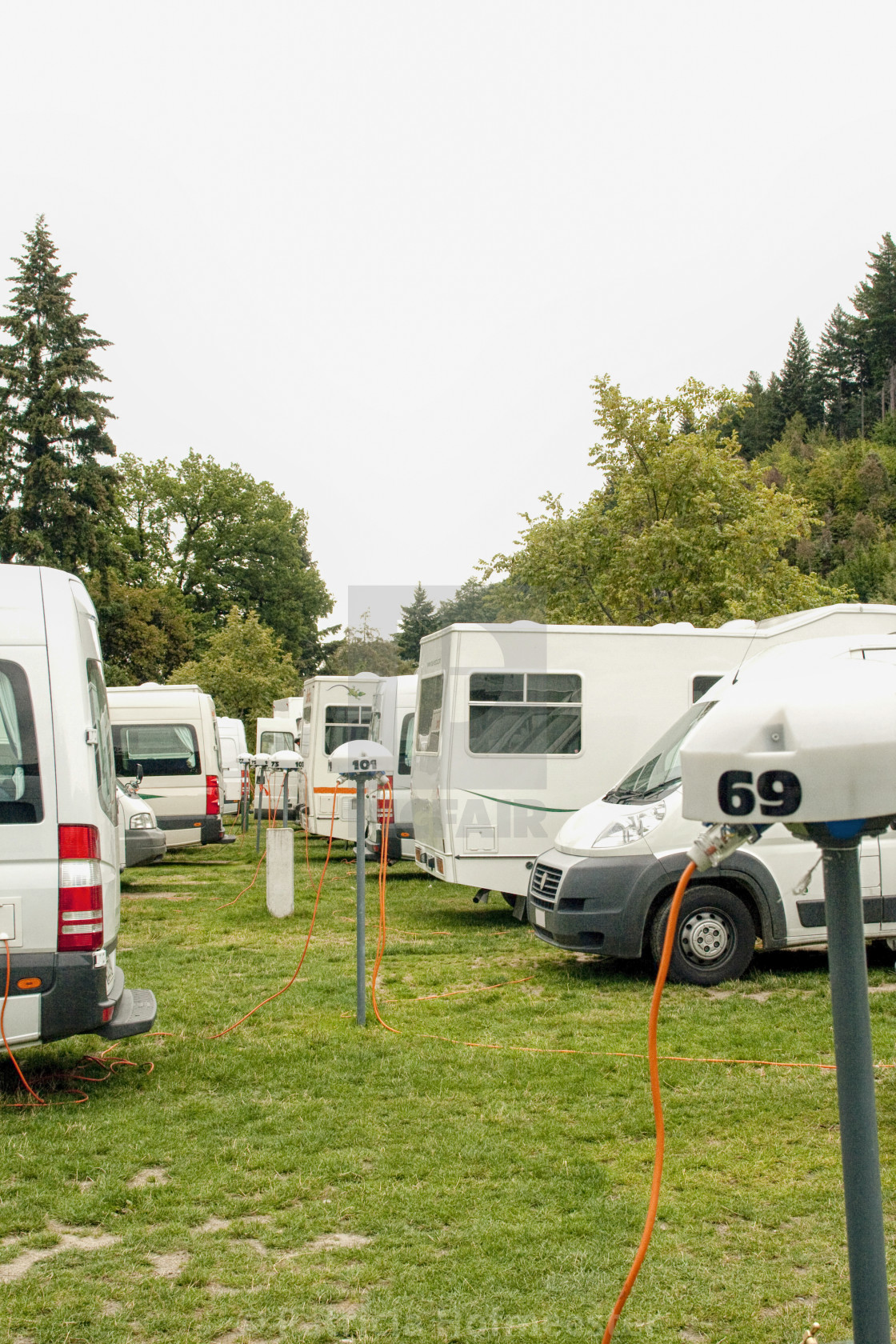 """Motorhomes on a camping site"" stock image"