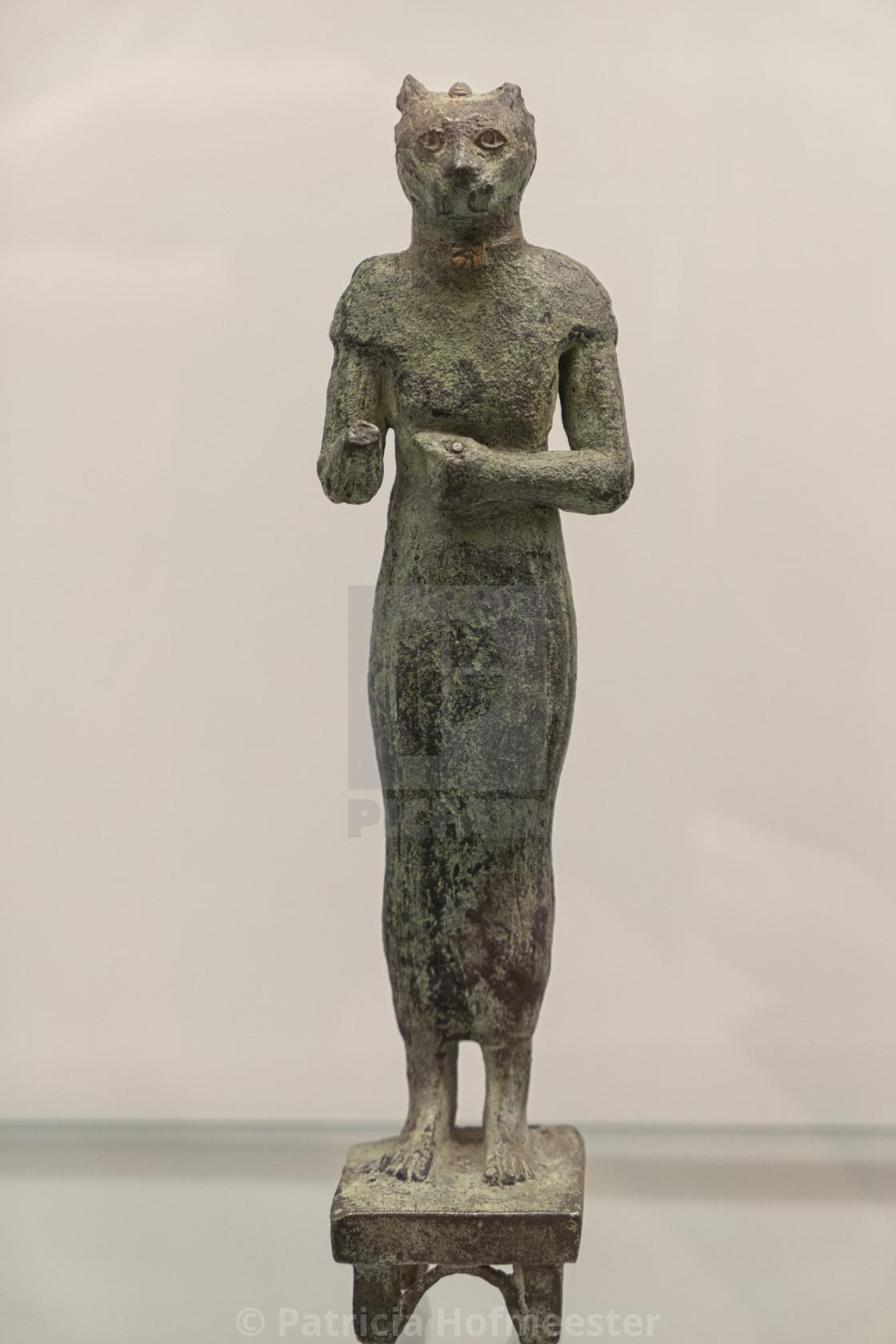 """""""Bastet, Egyptian cat goddess in bronze"""" stock image"""