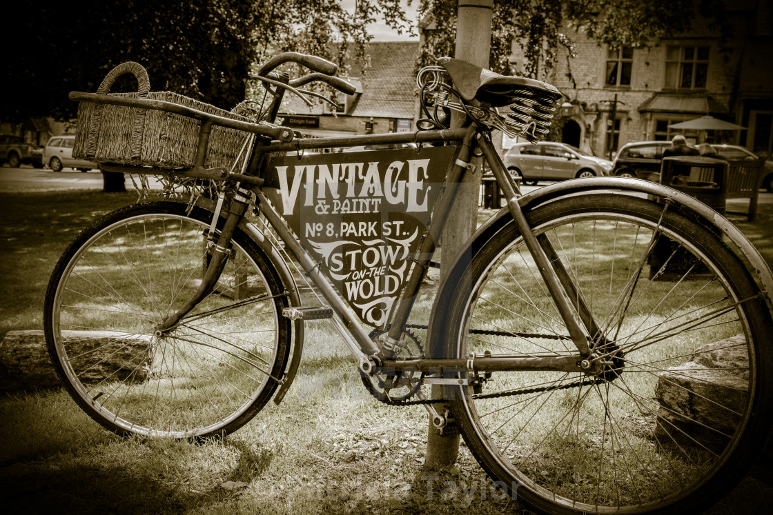 """Vintage bike Stow on the Wold in the Cotswolds"" stock image"