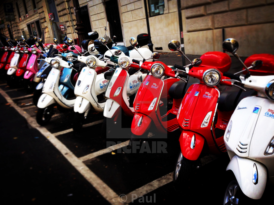 """Vespa showcase on street"" stock image"
