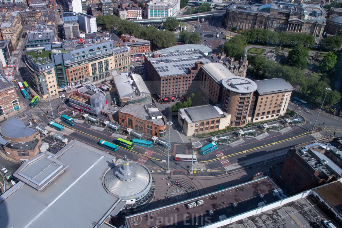 """Queen Square bus station from above"" stock image"