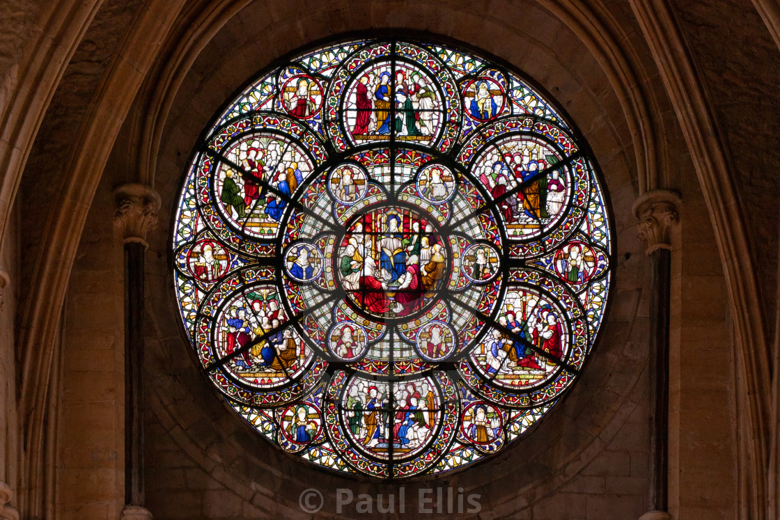 """Rose Window from Lincoln Cathedral"" stock image"