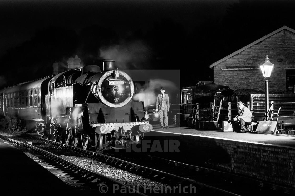 """Night steam at Midsomer Norton"" stock image"