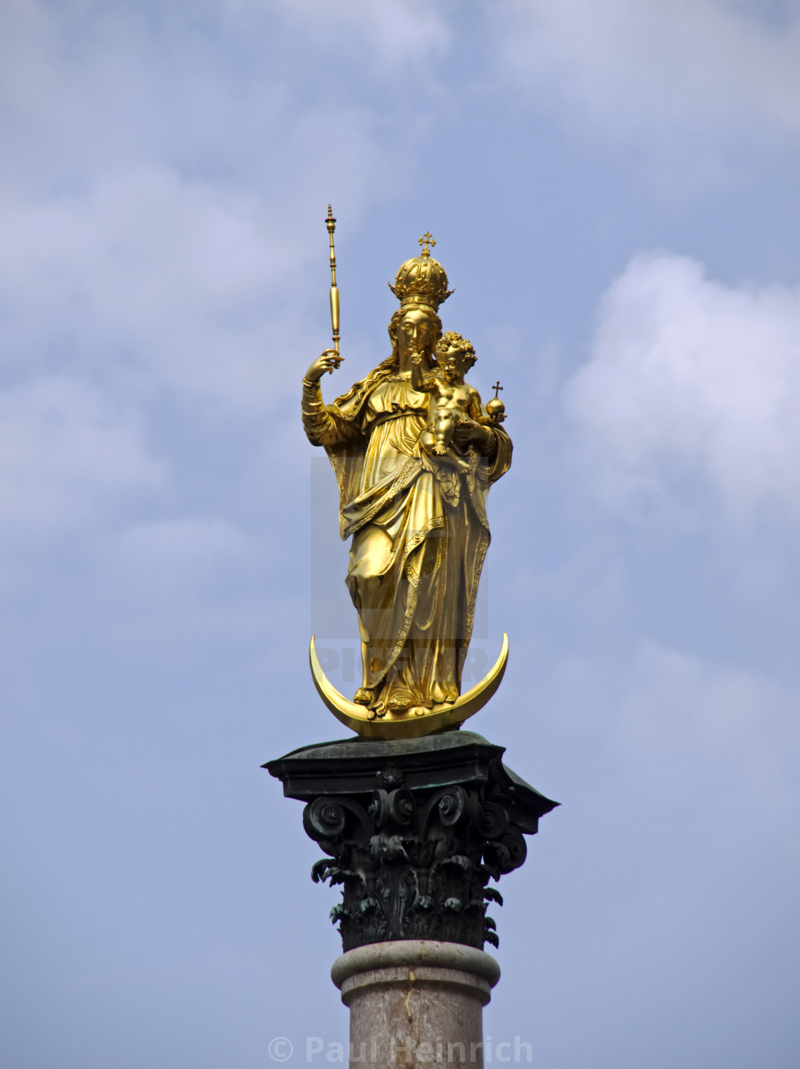 """Golden Statue, Munich"" stock image"