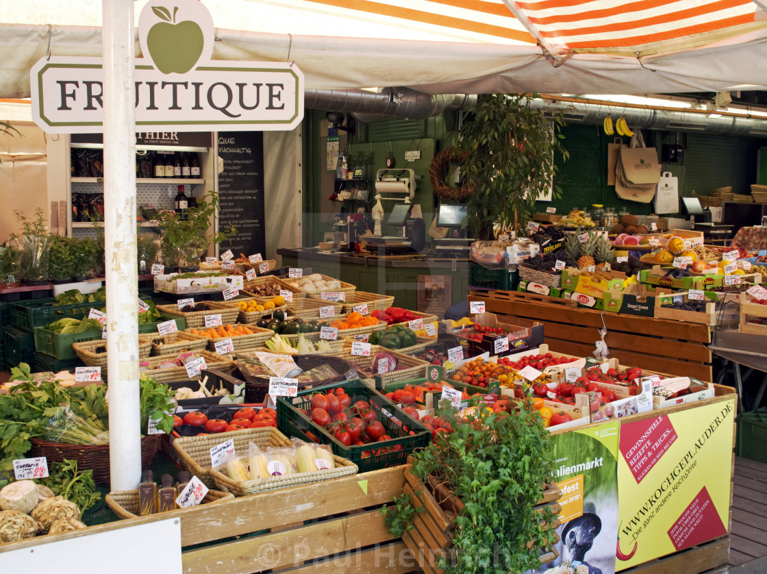 """Fruit and vegetable stall in The Viktualienmarkt , Munich"" stock image"