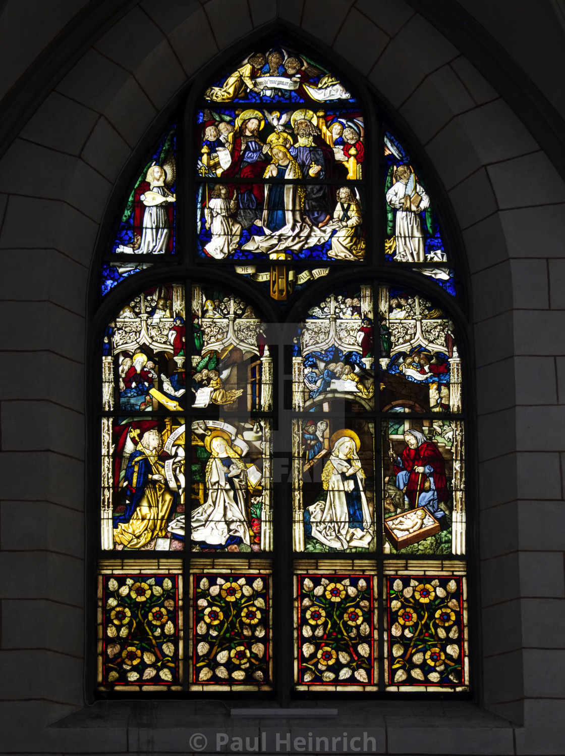 """""""Stained glass window in Augsburg Cathedral"""" stock image"""