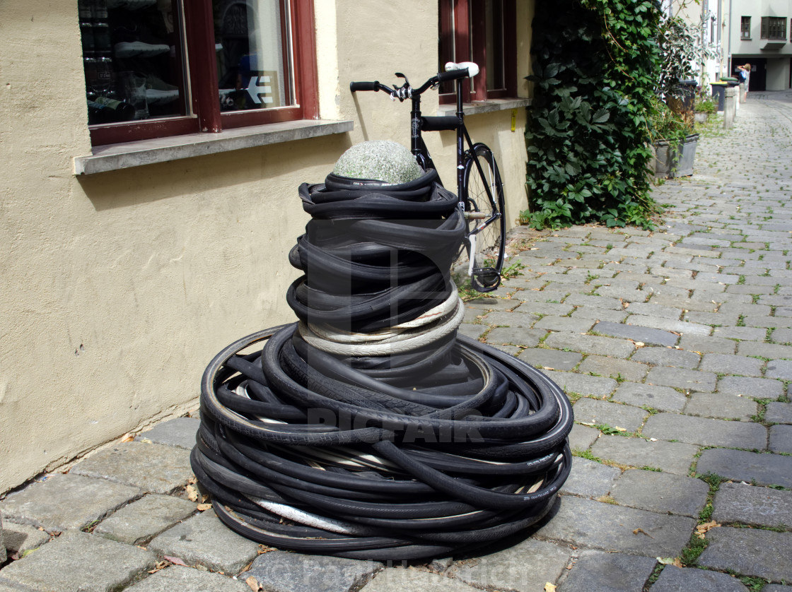 """Quirky street scene in Augsburg"" stock image"